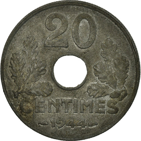 Coin, France, État français, 20 Centimes, 1944, Paris, AU(50-53), Zinc