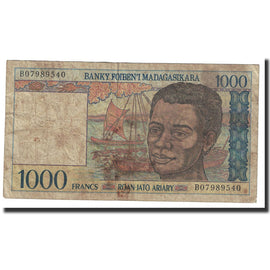 Banknote, Madagascar, 1000 Francs = 200 Ariary, Undated (1994), KM:76b