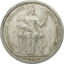 Coin, FRENCH OCEANIA, 2 Francs, 1949, VF(20-25), Aluminum, KM:3