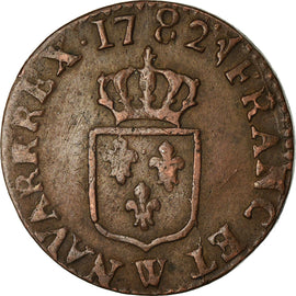 Coin, France, Louis XVI, Liard, Liard, 1782, Lille, AU(50-53), Copper