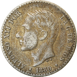 Coin, Spain, Alfonso XII, 50 Centimos, 1880, Madrid, EF(40-45), Silver, KM:685
