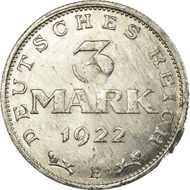 Coin, GERMANY, WEIMAR REPUBLIC, 3 Mark, 1922, Muldenhütten, EF(40-45)
