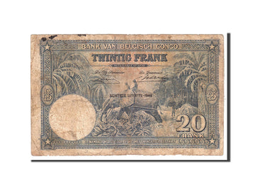 Banknote, Belgian Congo, 20 Francs, 1949, 1949-05-18, KM:15g, VF(20-25)