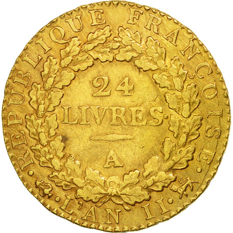 Coin, France, 24 livres Convention, 24 Livres, 1793, Paris, EF(40-45), Gold