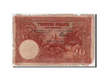 Banknote, Belgian Congo, 20 Francs, 1943, 1943-03-10, F(12-15)