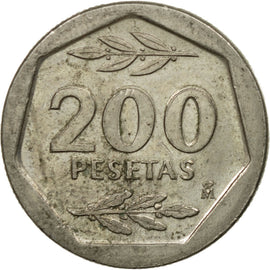 Coin, Spain, Juan Carlos I, 200 Pesetas, 1988, EF(40-45), Copper-nickel, KM:829