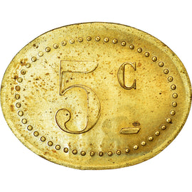 Coin, France, Contremarque R L, Uncertain Mint, 5 Centimes, AU(55-58), Brass
