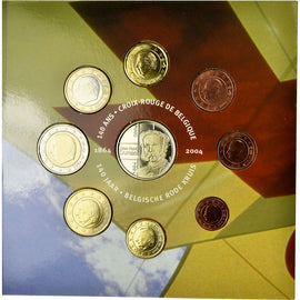Belgium, 1 Cent to 2 Euro, 2004, MS(65-70)