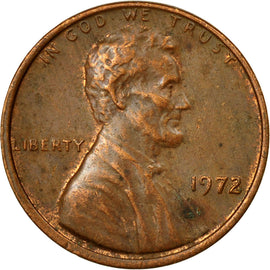 Coin, United States, Lincoln Cent, Cent, 1972, U.S. Mint, Philadelphia