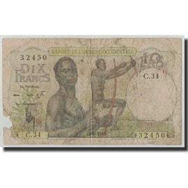 Banknote, French West Africa, 10 Francs, 1948, 1948-04-22, KM:37, VG(8-10)