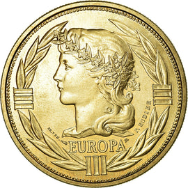 France, Medal, Ecu Europa, Marianne, 1992, Rodier, MS(64), Gilt Bronze