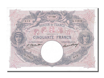 Banknote, France, 50 Francs, 50 F 1889-1927 ''Bleu et Rose'', 1926, 1926-07-03