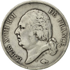 France, Louis XVIII, 5 Francs, 1817, Bordeaux, VF(20-25), Silver, KM:711.7