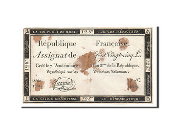 Banknote, France, 125 Livres, 1793, 1793-09-28, EF(40-45), KM:A74, Lafaurie:169