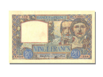 France, 20 Francs, 20 F 1939-1942 ''Science et Travail'', 1941, KM #92b,...