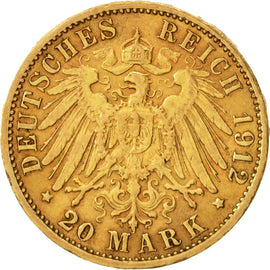 Coin, German States, BADEN, Friedrich II, 20 Mark, 1912, Stuttgart, EF(40-45)