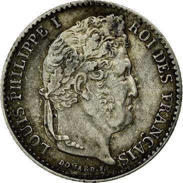Coin, France, Louis-Philippe, 1/4 Franc, 1843, Lille, AU(50-53), Silver