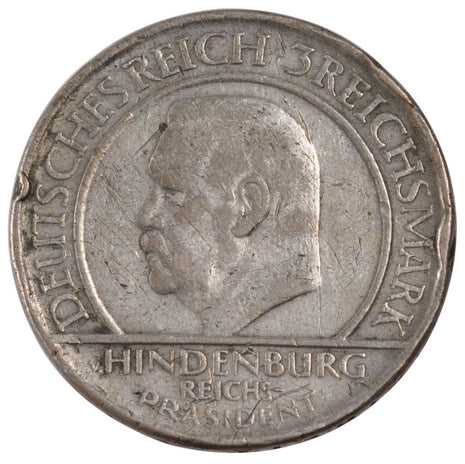 GERMANY, WEIMAR REPUBLIC, 3 Reichsmark, 1929, Berlin, KM #63, VF(20-25),...