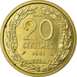 Coin, France, 20 Centimes, 1961, MS(63), Aluminum-Bronze, Gadoury:330