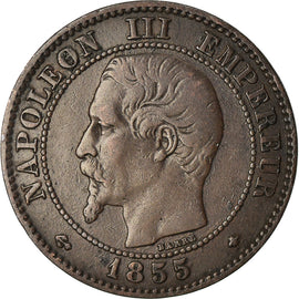 Coin, France, Napoleon III, 2 Centimes, 1855, Strasbourg, EF(40-45)