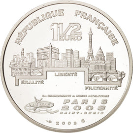 Coin, France, 1-1/2 Euro, 2003, Paris, MS(65-70), Silver, KM:1997