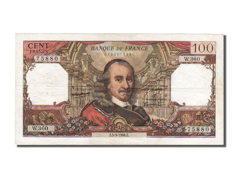 France, 100 Francs, 100 F 1964-1979 ''Corneille'', 1968, KM #149c, 1968-09-05,..