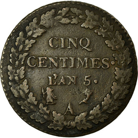 Coin, France, Dupré, 5 Centimes, AN 5, Paris, EF(40-45), Bronze, KM:640.1