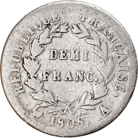 Coin, France, Napoléon I, 1/2 Franc, 1808, Paris, VF(20-25), Silver, KM:680.1