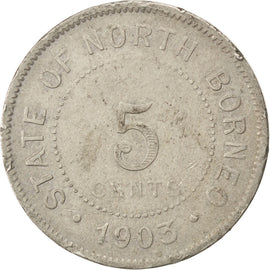 BRITISH NORTH BORNEO, 5 Cents, 1903, Heaton, KM #5, VF(30-35), Copper-Nickel,...