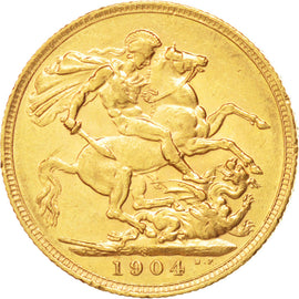 AUSTRALIA, Sovereign, 1904, Sydney, KM #15, AU(50-53), Gold, 21, 7.98