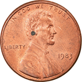Coin, United States, Lincoln Cent, Cent, 1983, U.S. Mint, Philadelphia