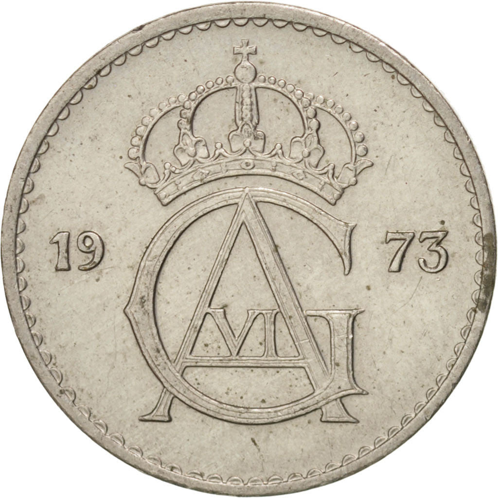 SWEDEN, 25 Ore, 1973, KM #836, AU(55-58), Copper-Nickel, 16.94