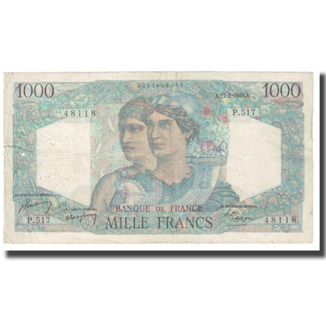 France, 1000 Francs, Minerve et Hercule, 1949, P. Rousseau and R. Favre-Gilly