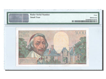 France, 10 NF on 1000 Francs, Richelieu, KM:138, PMG EF40
