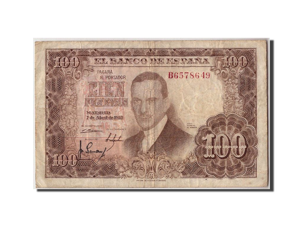 Spain, 100 Pesetas, 1955, KM:145a, 1953-04-07, VF(20-25)