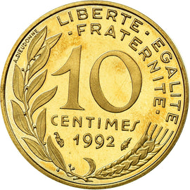 Coin, France, Marianne, 10 Centimes, 1992, Paris, BE, MS(65-70), KM 929