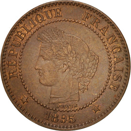 Coin, France, Cérès, 2 Centimes, 1895, Paris, AU(50-53), Bronze, KM:827.1