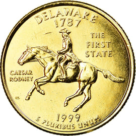 Coin, United States, Delaware, Quarter, 1999, U.S. Mint, Denver, gold-plated