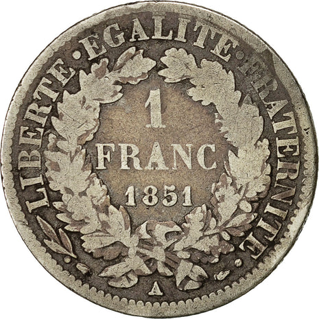 Coin, France, Cérès, Franc, 1851, Paris, F(12-15), Silver, KM:759.1