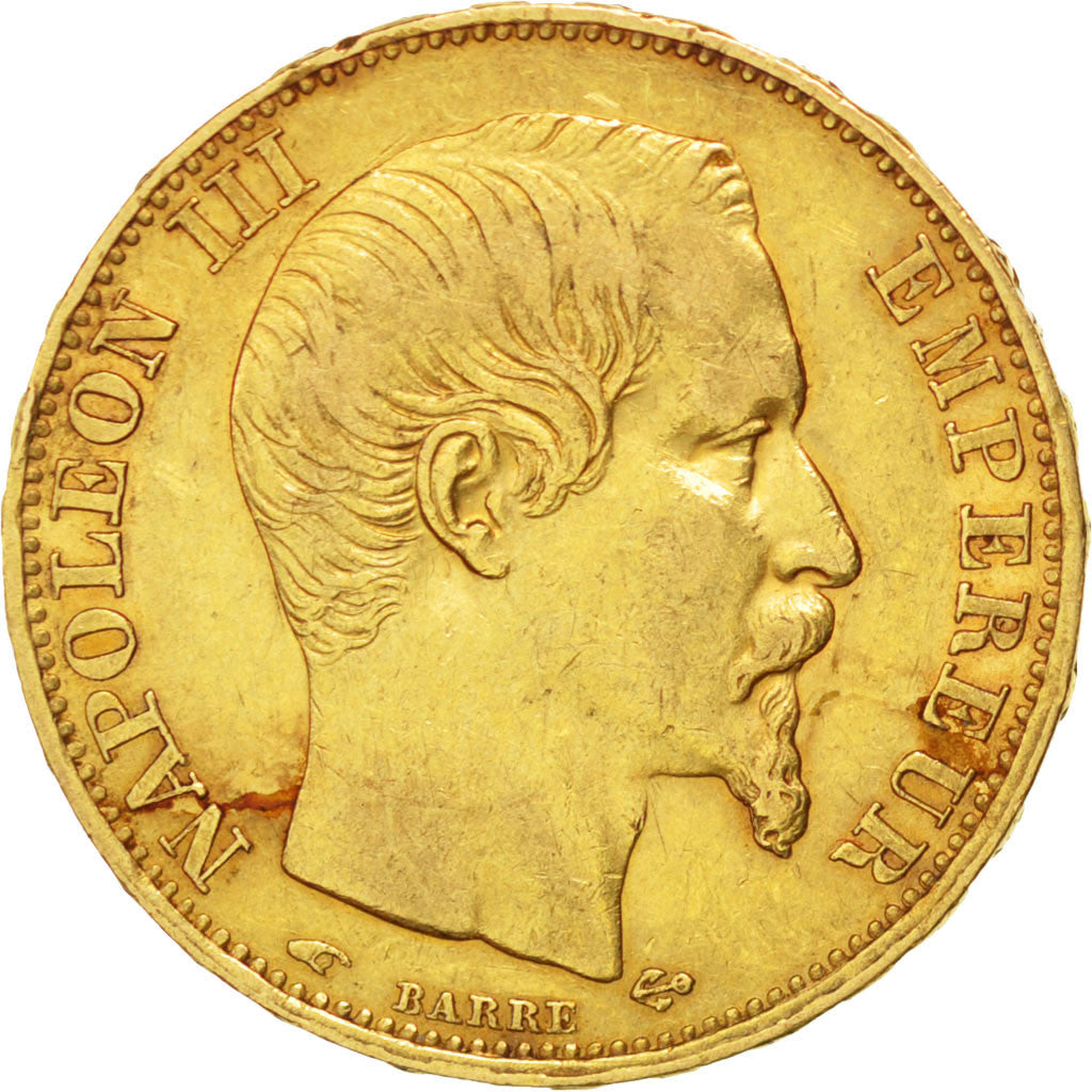 FRANCE, Napoléon III, 20 Francs, 1856, Paris, KM #781.1, EF(40-45), Gold, Gadour