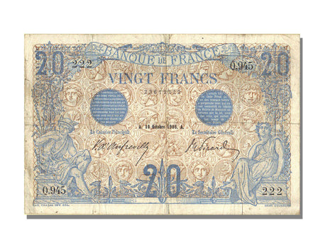 France, 20 Francs, 20 F 1905-1913 ''Bleu'', 1906, KM #68a, 1906-10-10,...