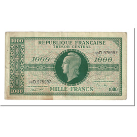Banknote, France, 1000 Francs, 1943-1945 Marianne, 1945, Undated (1945)