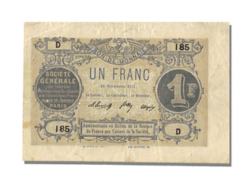 FRANCE, Paris, 1 Franc, 1871, 1871-11-18, EF(40-45), D.185, Jérémie #75.02.A