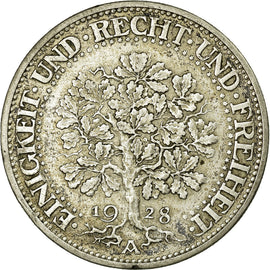Coin, GERMANY, WEIMAR REPUBLIC, 5 Reichsmark, 1928, Berlin, AU(50-53), Silver