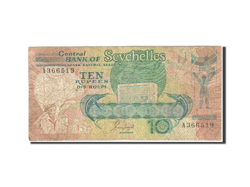 Banknote, Seychelles, 10 Rupees, 1989, Undated (1989), KM:32, VF(20-25)