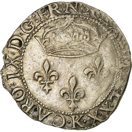 Coin, France, Charles IX, Double Sol Parisis, 1570, Bordeaux, EF(40-45), Silver