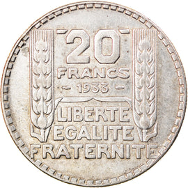 Coin, France, Turin, 20 Francs, 1933, Paris, Rameaux longs, AU(50-53), Silver