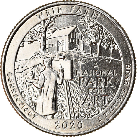 Coin, United States, Quarter, 2020, Denver, Weir farm - Connecticut, MS(63)