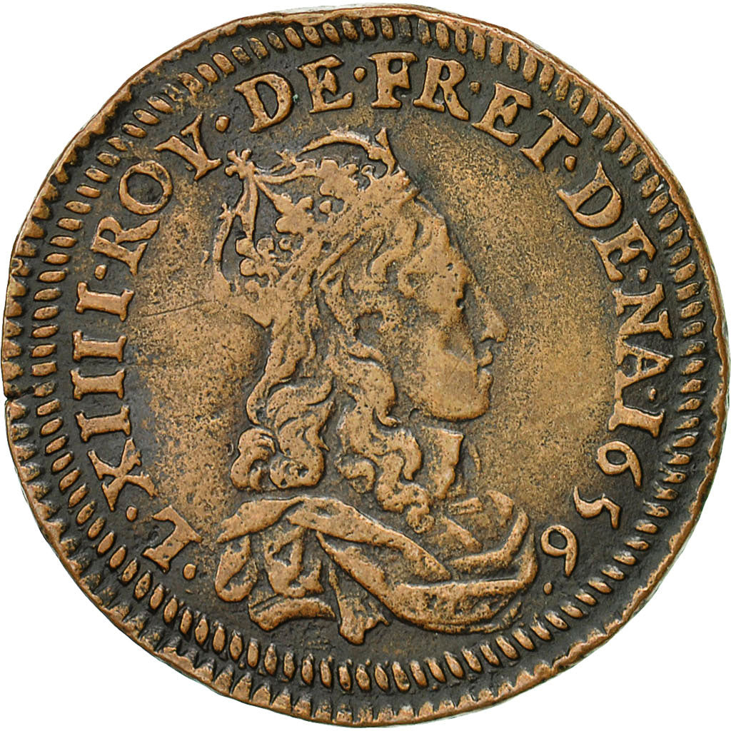 Coin, France, Louis XIV, Essai du Liard aux quatre lis, 1657, EF(40-45), Copper