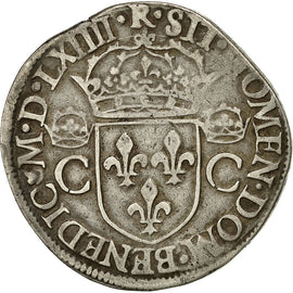 Coin, France, Charles IX, Charles IX, Teston, 1564, Toulouse, VF(30-35), Silver